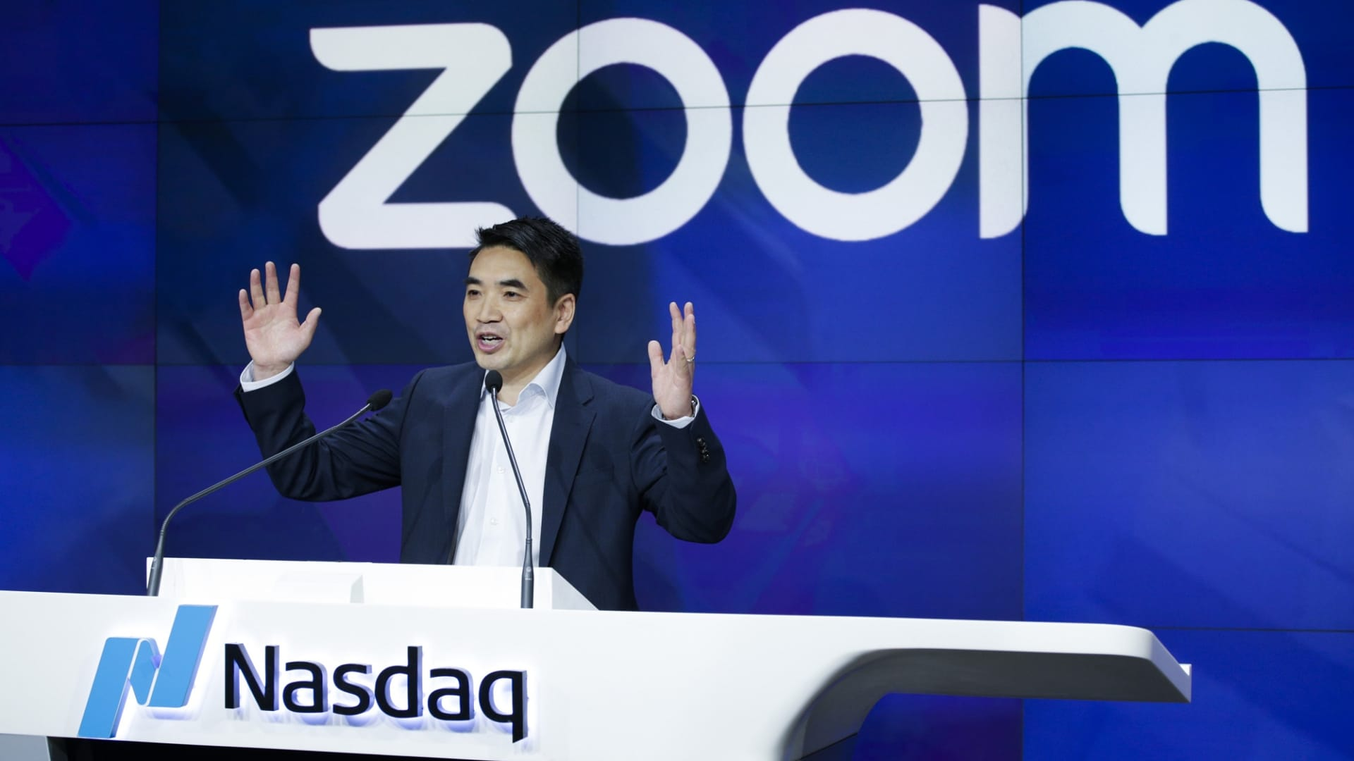 Zoom founder Eric Yuan speaks before the Nasdaq opening bell ceremony on April 18, 2019 in New York City.