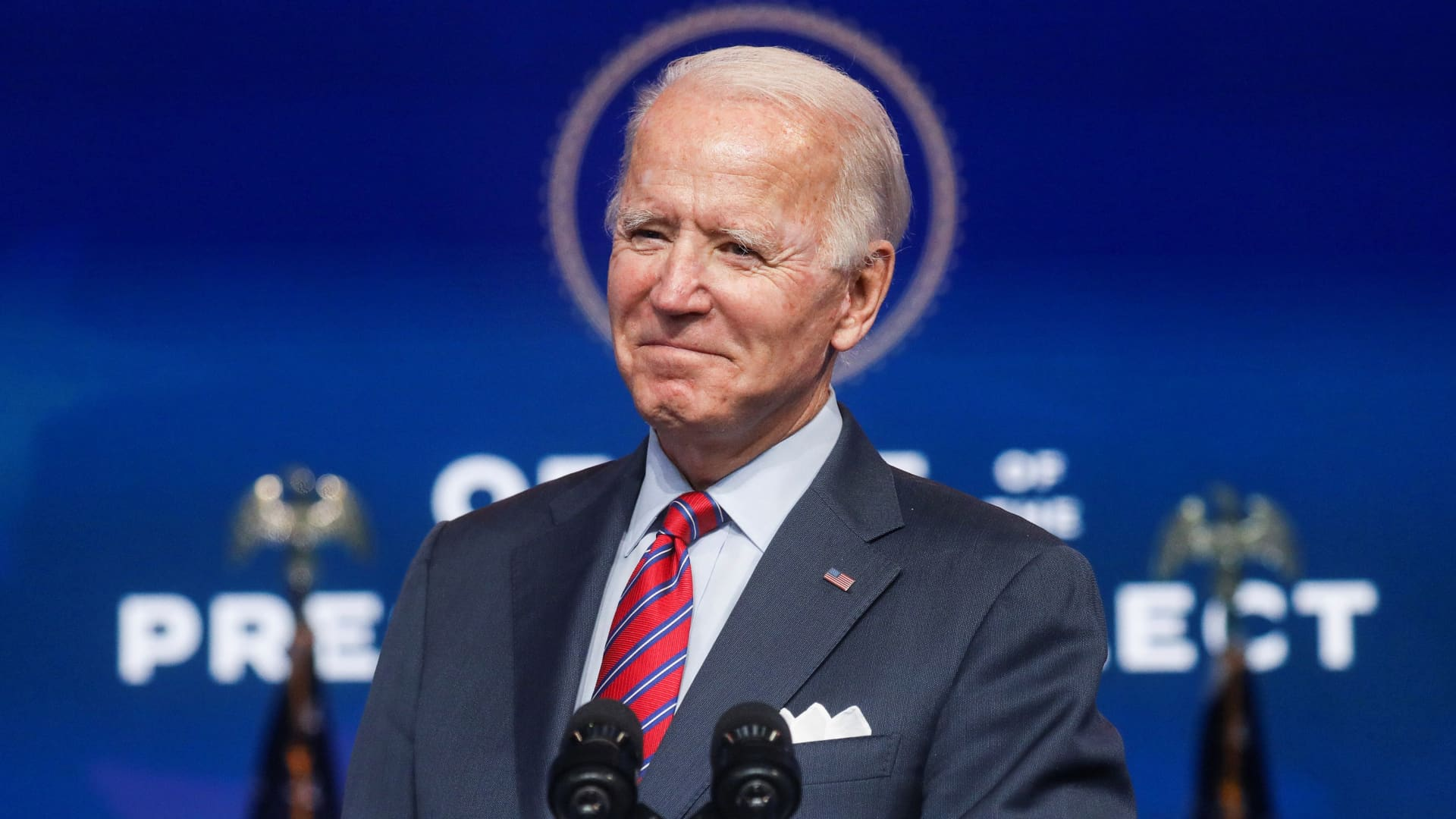 U.S. President-elect Joe Biden speaks about the economy and the final U.S. jobs report of 2020 at his transition headquarters in Wilmington, Delaware, U.S., December 4, 2020.