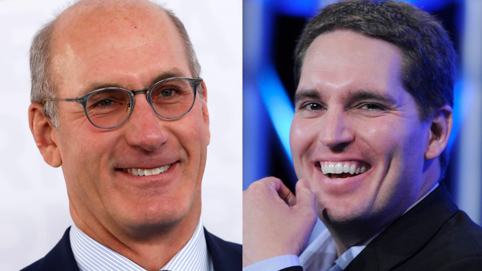Combined images of AT&T CEO John Stankey (L)and john stankey WarnerMedia CEO Jason Kilar.
