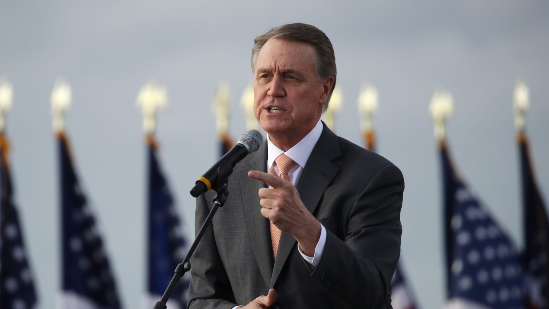 Sen. David Perdue (R-GA) attends a rally with Vice President Mike Pence in support of both he and Sen. Kelly Loeffler (R-GA) on December 04, 2020 in Savannah, Georgia.