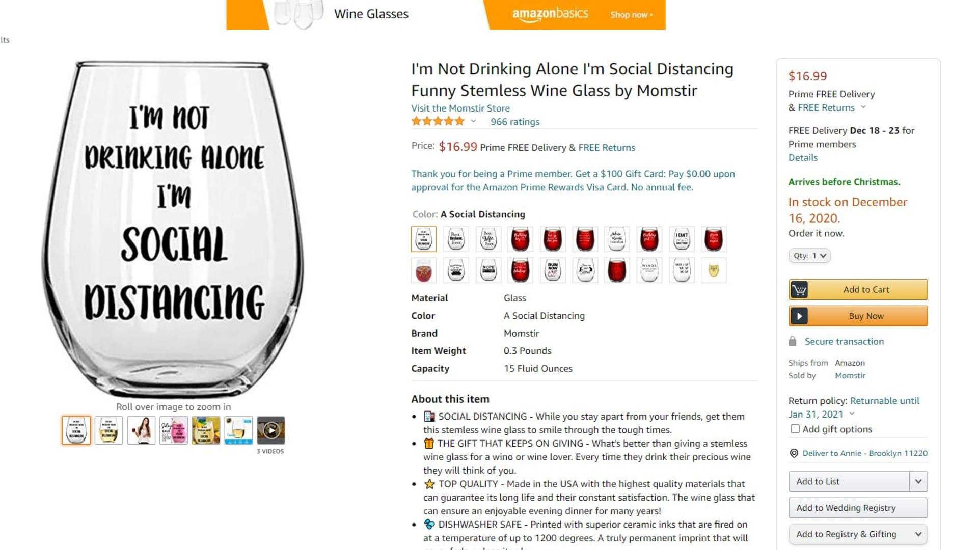 One of Momstir's top-selling wine glasses won't be in stock until next week.