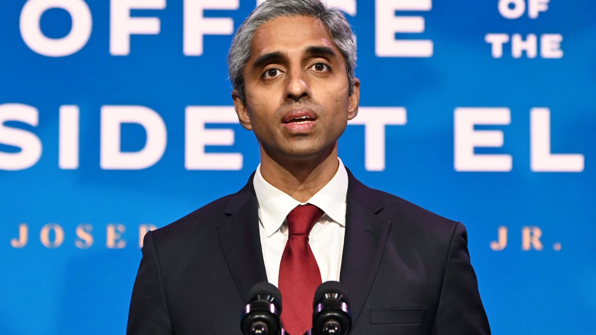 Vivek Murthy, who has been nominated by President-elect Joe Biden to serve as the US Surgeon General, speaks as Biden announces his team tasked with dealing with the Covid-19 pandemic at The Queen in Wilmington, Delaware on December 8, 2020.