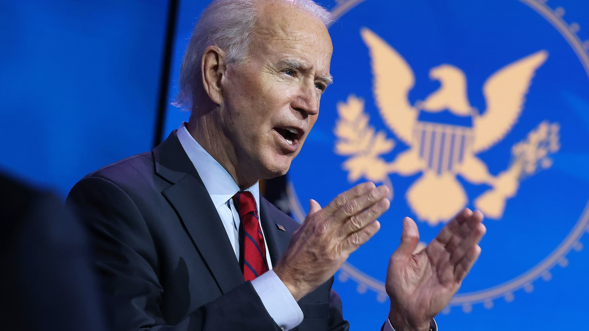 U.S. President-elect Joe Biden announces the members of his health team, at the Queen Theater December 08, 2020 in Wilmington, Delaware.