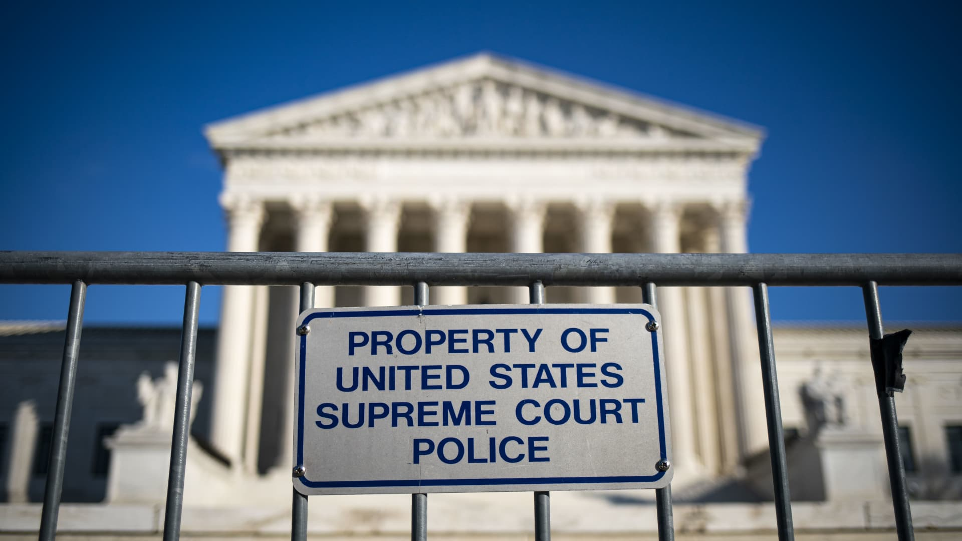 A police barricade in front of the U.S. Supreme Court in Washington, D.C., on Monday, Dec. 7, 2020.