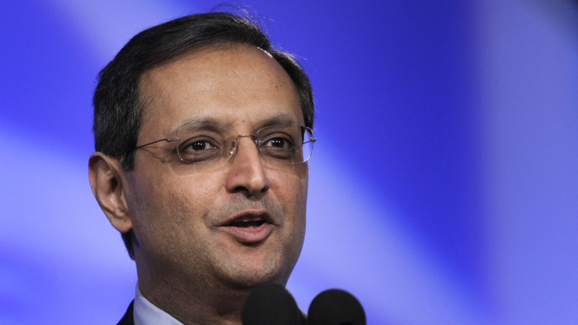 Vikram Pandit, former-CEO of Citigroup speaking in June 15, 2009 in Detroit, Michigan.