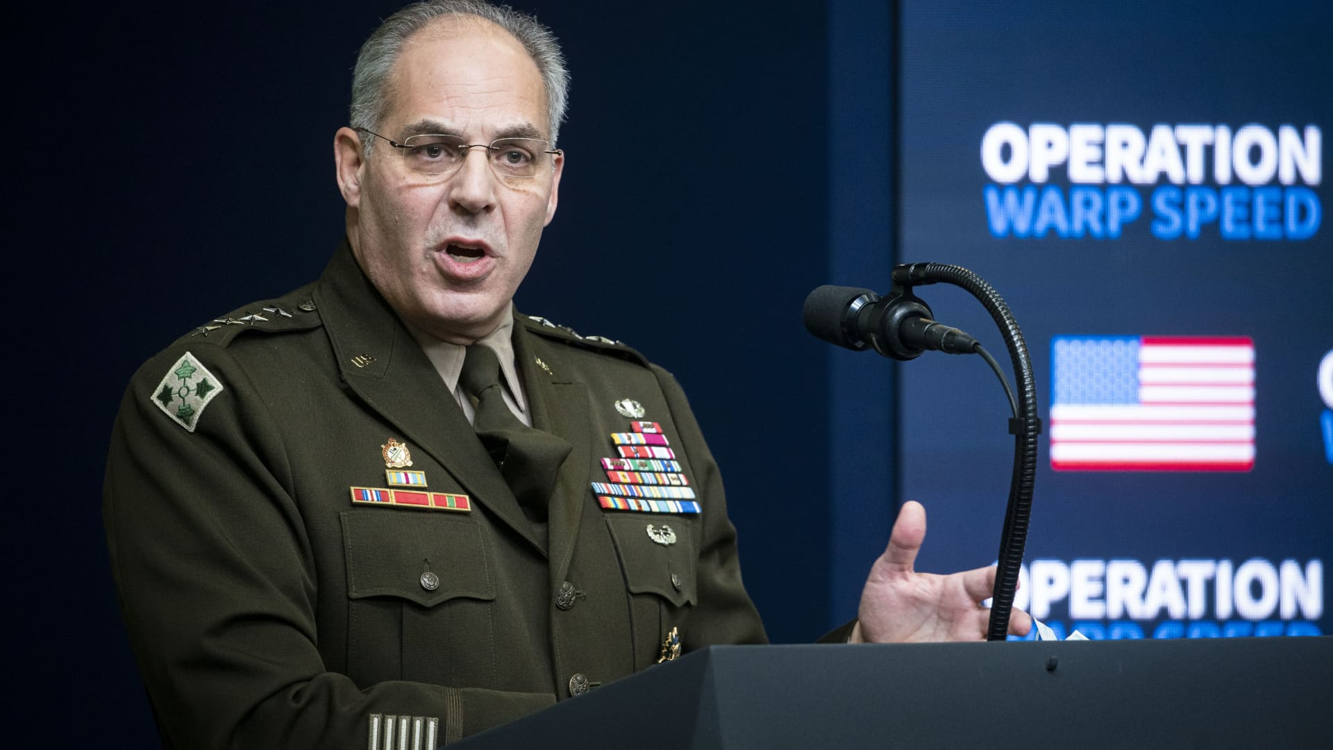 General Gustave Perna, chief operating officer for the Defense Department's Project Warp Speed, speaks during an Operation Warp Speed vaccine summit at the White House in Washington, D.C., U.S., on Tuesday, Dec. 8, 2020.