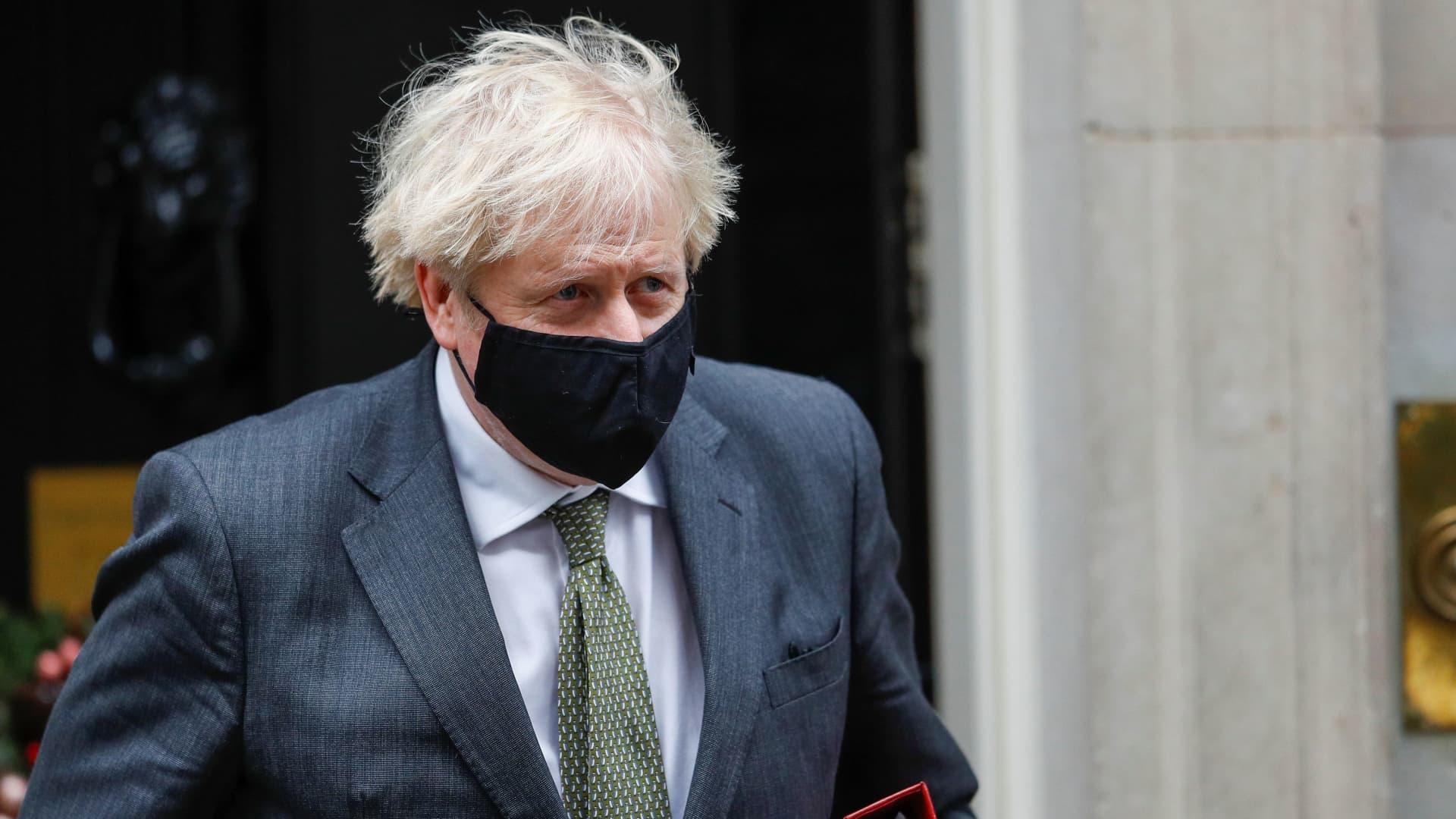 Britain's Prime Minister Boris Johnson leaves Downing Street in London, Britain December 9, 2020.