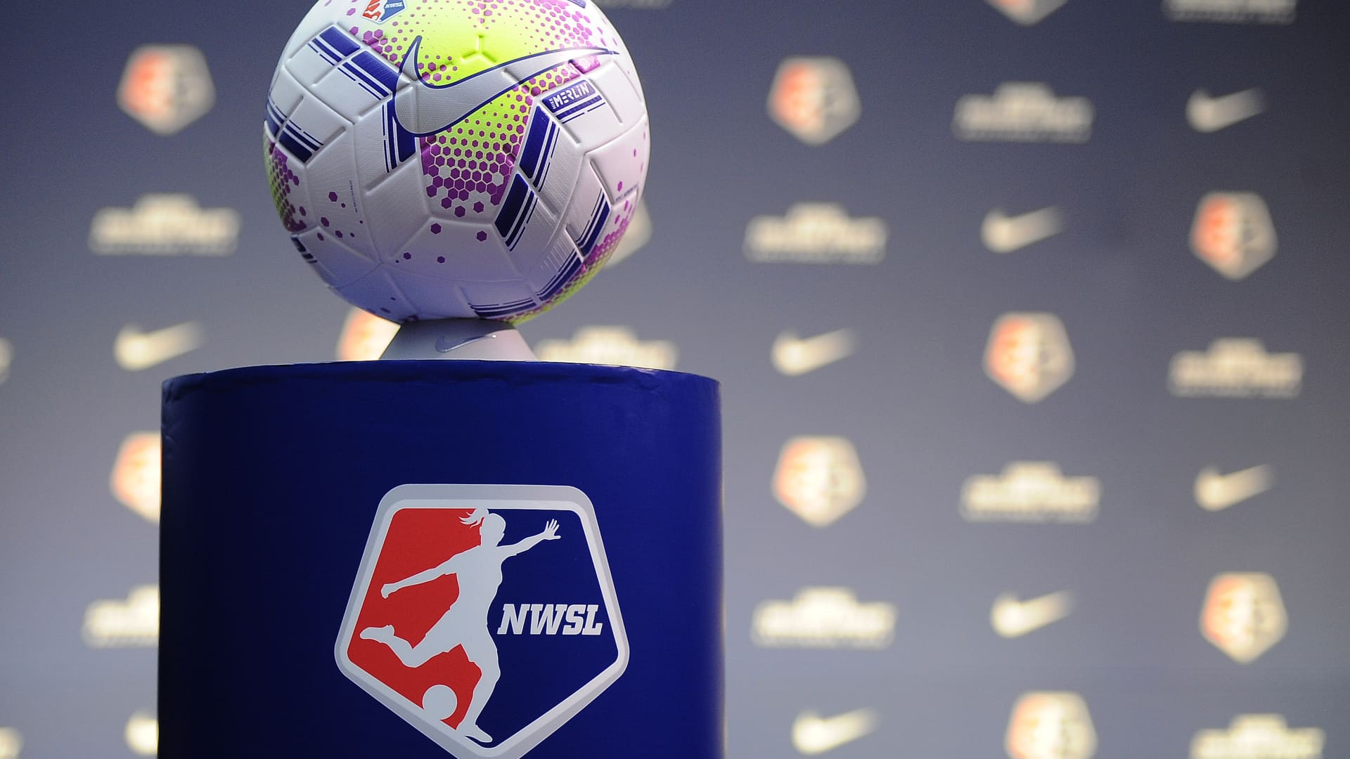 NWSL game ball during the 2020 NWSL College Draft at the Baltimore Convention Center on January 16, 2020 in Baltimore, Maryland.