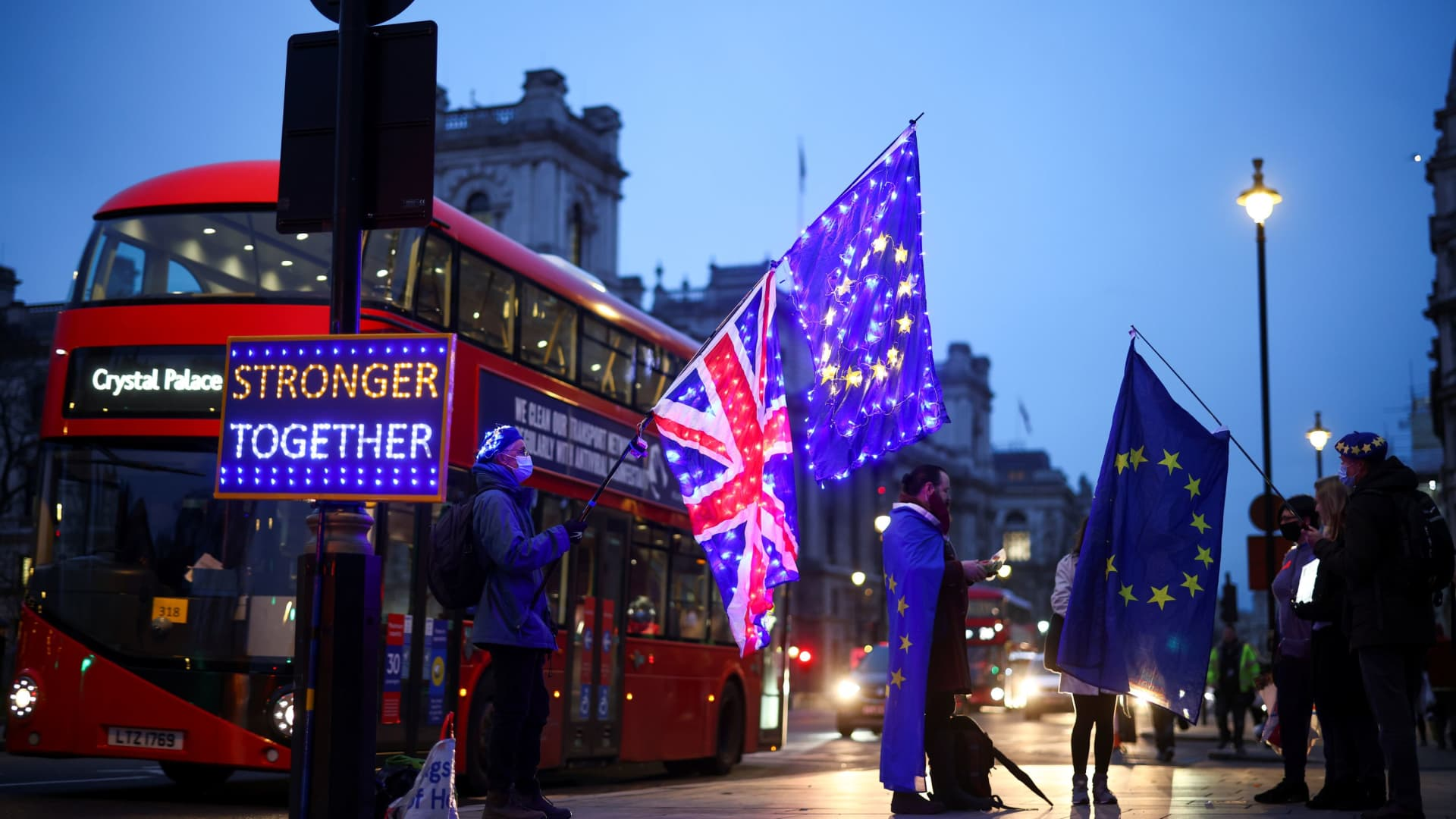Anti-Brexit protesters demonstrate outside the Houses of Parliament in London, Britain December 9, 2020.