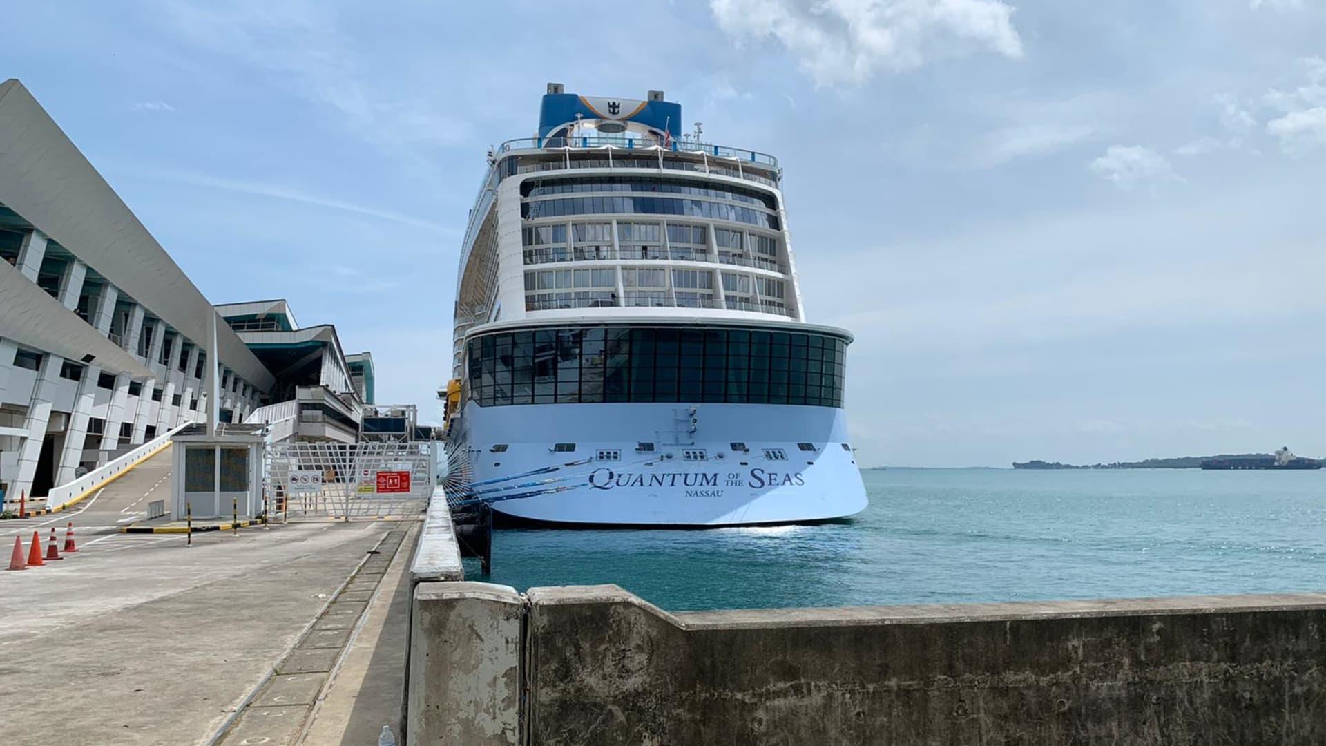 Royal Caribbean's Quantum of the Seas cruise ship docked at Singapore's Marina Bay Cruise Centre on Dec. 9, 2020.