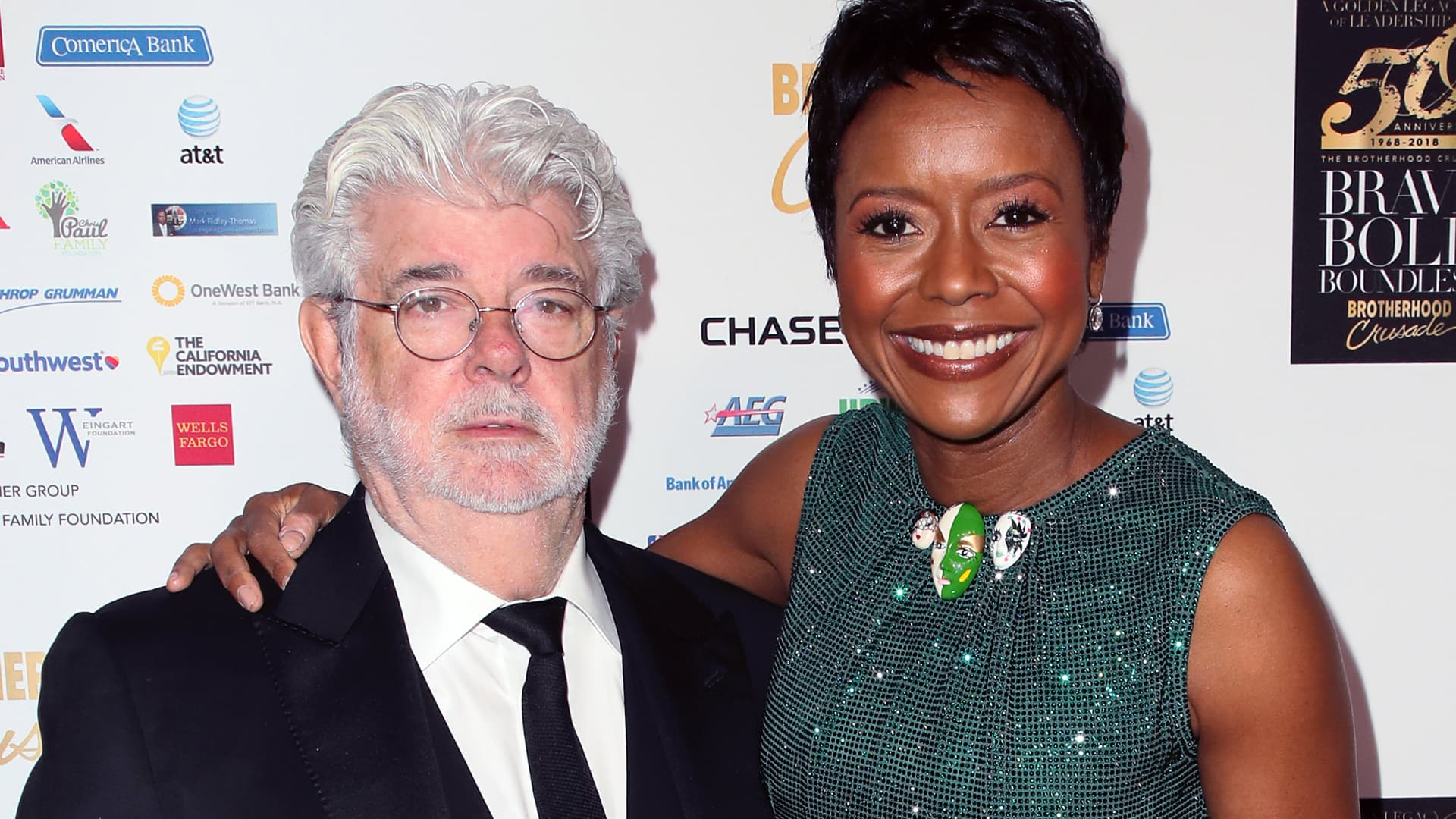 BEVERLY HILLS, CALIFORNIA - George Lucas and Mellody Hobson attend the Brotherhood Crusade's 50th Pioneer of African American Achievement Award Dinner at The Beverly Hilton Hotel on December 07, 2018.