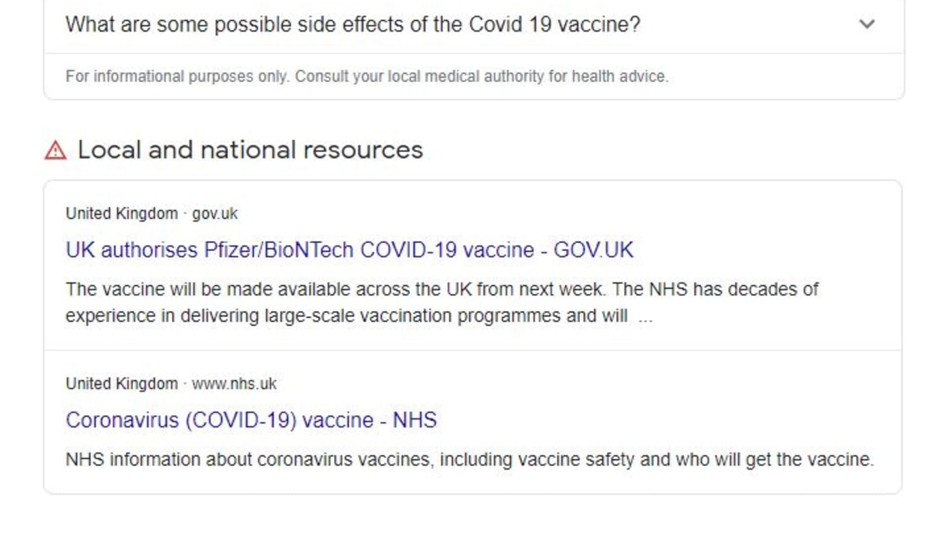 A screenshot showing Google's new knowledge panels on search results about coronavirus vaccines.