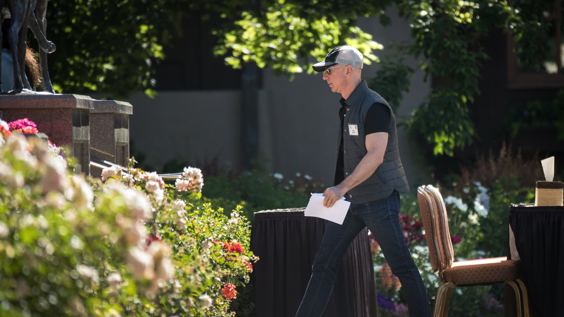 Jeff Bezos, chief executive officer of Amazon, arrives to deliver a keynote speech at the annual Allen & Company Sun Valley Conference, July 12, 2018 in Sun Valley, Idaho.