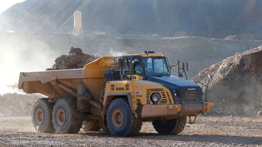 A mining truck takes ore from the pit to a crusher at the MP Materials rare earth mine in Mountain Pass, California, U.S. January 30, 2020.