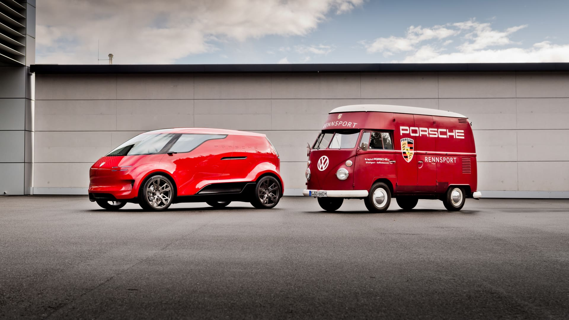 Porsche's electric van concept featured next to a Volkswagen bus.