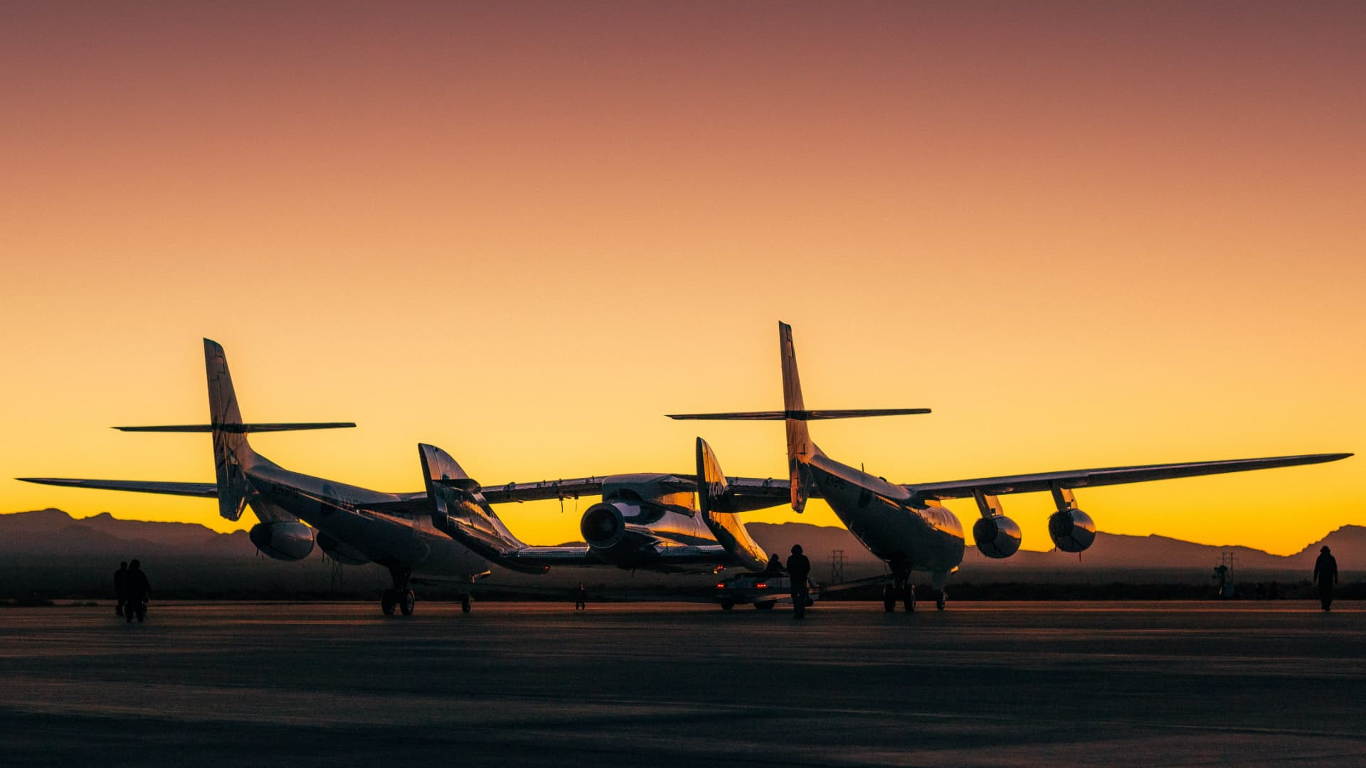 Virgin Galactic's carrier jet and spacecraft prepare to takeoff from Spaceport America in New Mexico on Dec. 12, 2020.