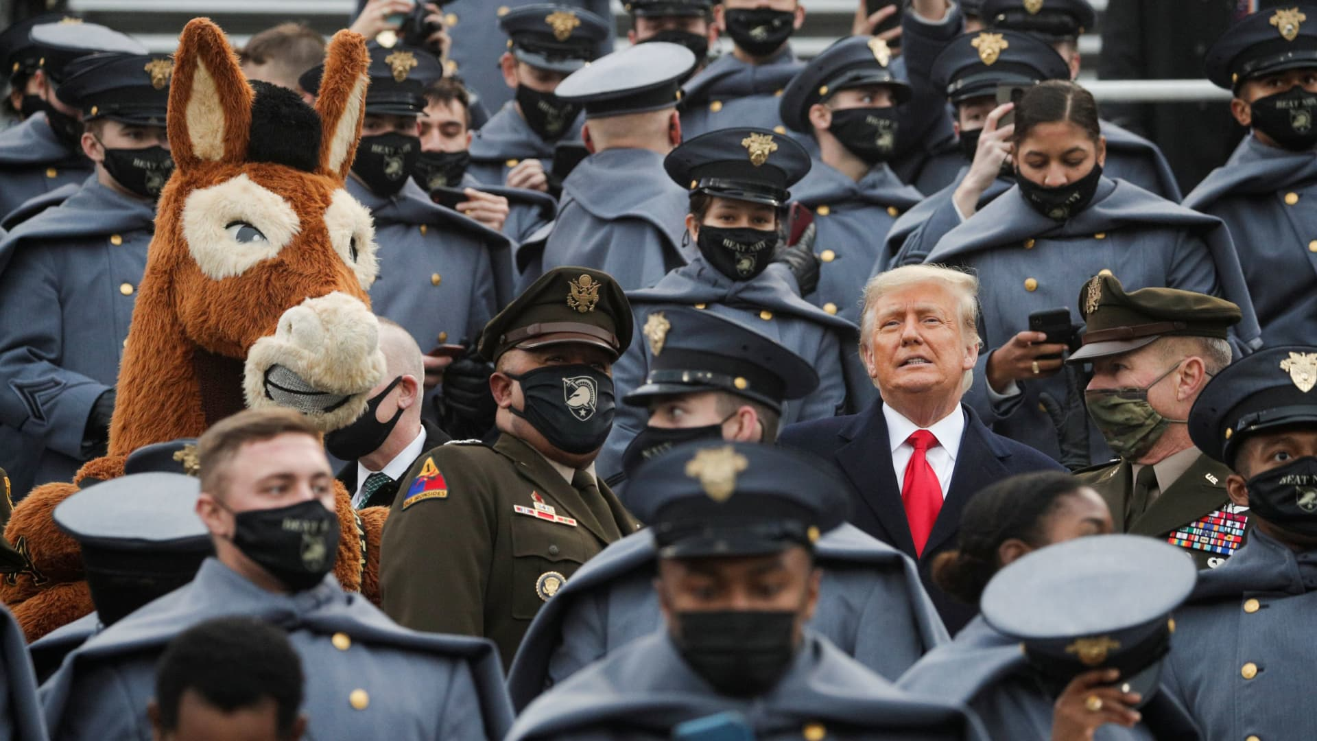 U.S. President Trump stands among U.S. Army cadets as he attends the annual Army-Navy collegiate football game at Michie Stadium, in West Point, New York, U.S., December 12, 2020.