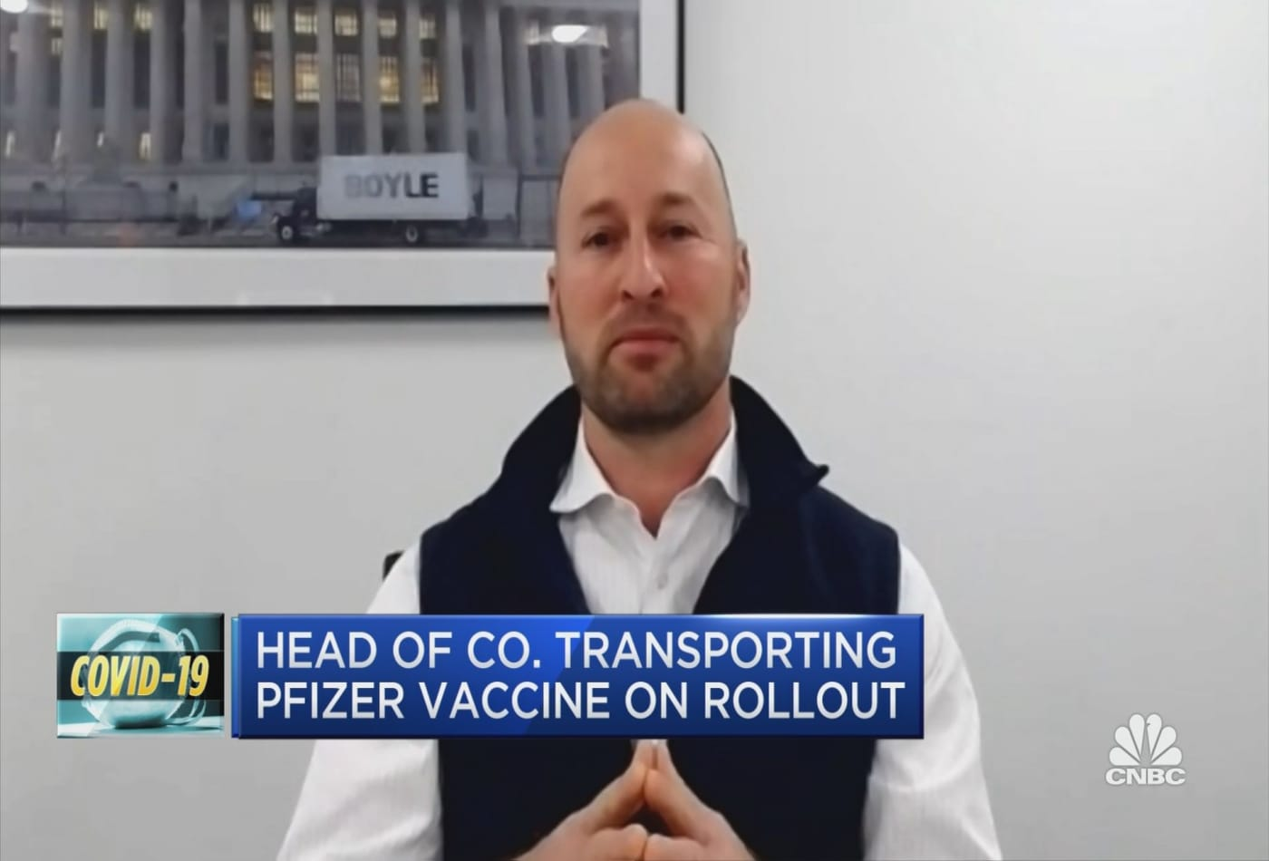 Head of trucking company transporting Pfizer vaccine discusses the first day of distribution
