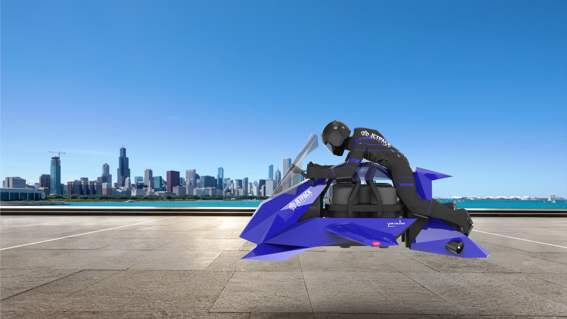 A rendering of JetPack Aviation's Speeder, a flying motorcycle being developed that can be used for commercial and military use.