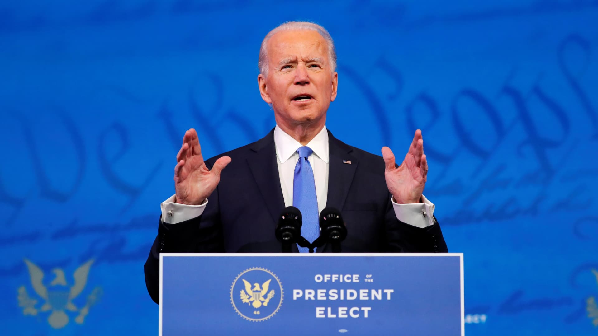 President-elect Joe Biden delivers a televised address to the nation, after the U.S. Electoral College formally confirmed his victory over President Donald Trump in the 2020 U.S. presidential election, from Biden's transition headquarters in Wilmington, Delaware, U.S., December 14, 2020.
