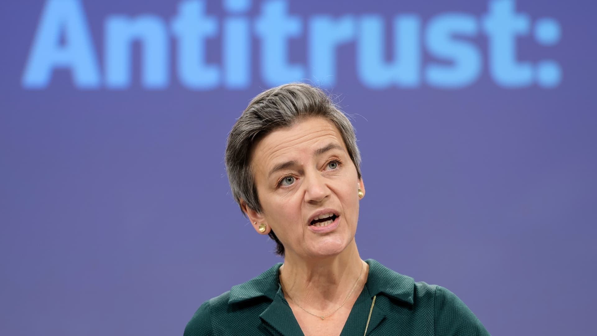 EU Commissioner for A Europe Fit for the Digital Age - Executive Vice President Margrethe Vestager is talking to media during a virtual press briefing in the Berlaymont, the EU Commission headquarter on November 26, 2020, in Brussels, Belgium.