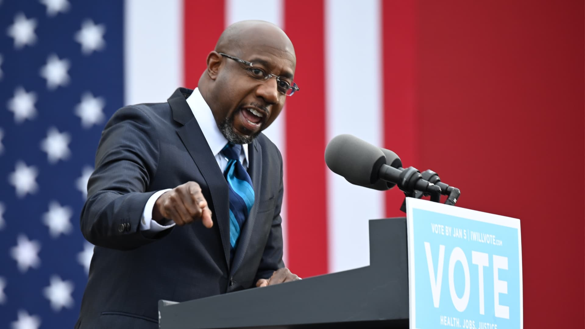 Democratic Senate candidate Reverend Raphael Warnock speaks during a campaign rally in Atlanta, Georgia on December 15, 2020.