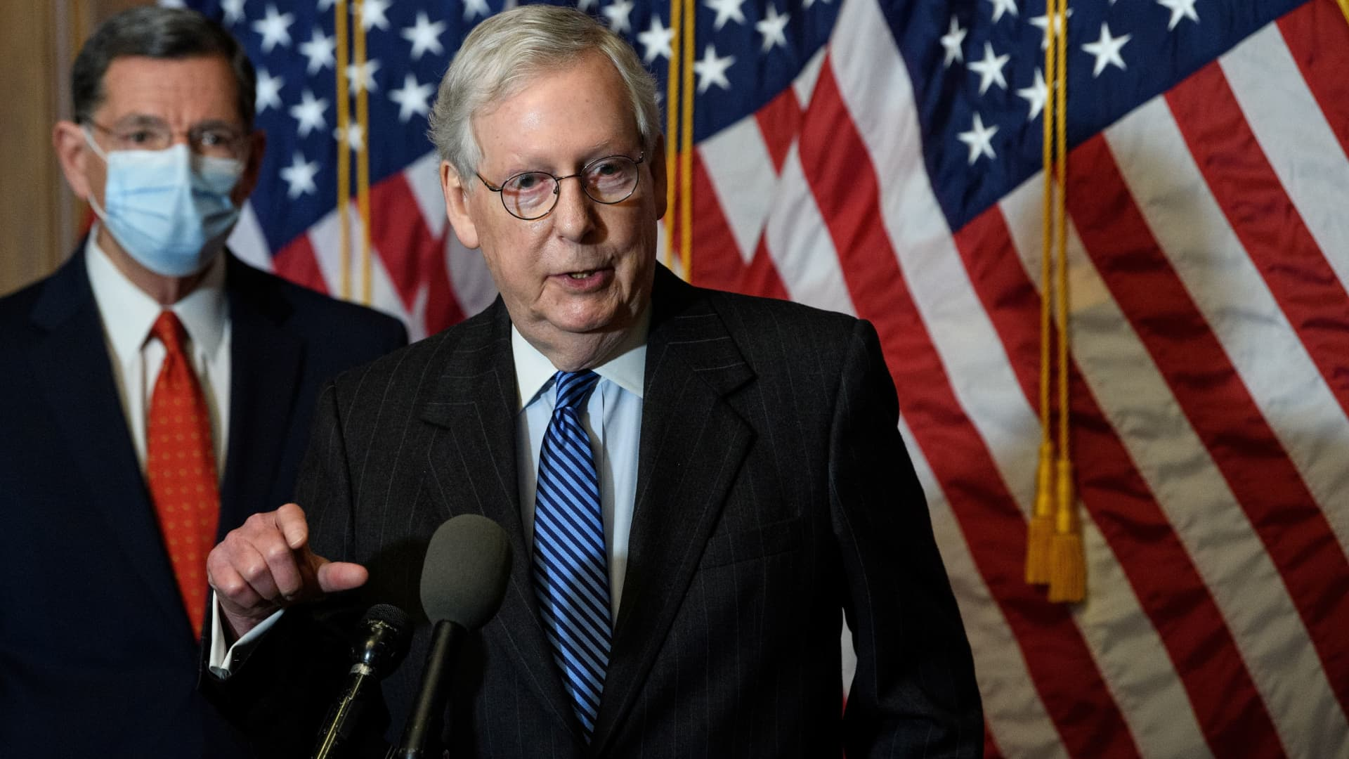 U.S. Senate Majority Leader Mitch McConnell (R-KY) speaks at a news conference at the U.S. Capitol in Washington, U.S., December 15, 2020.
