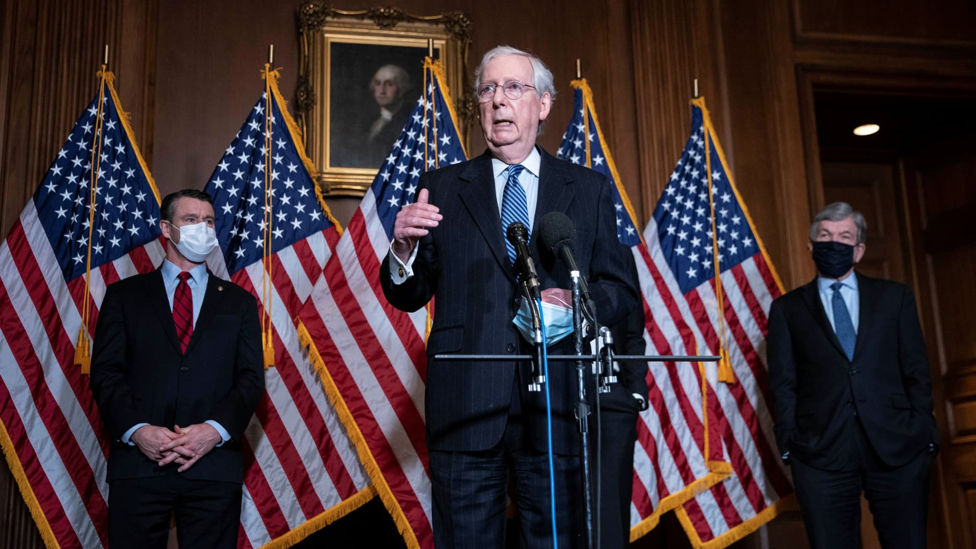 U.S. Senate Majority Leader Mitch McConnell speaks during a news conference after the Republicans' weekly senate luncheon at the U.S. Capitol in Washington, U.S., December 8, 2020.