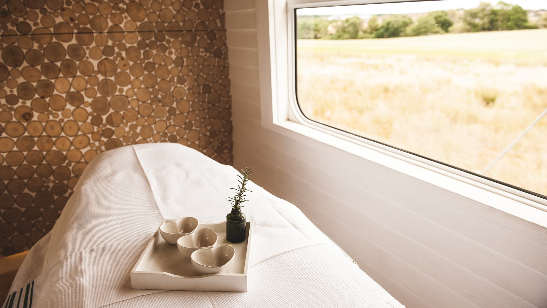 One of two treatments rooms in the train's Bamford Haybarn Spa.