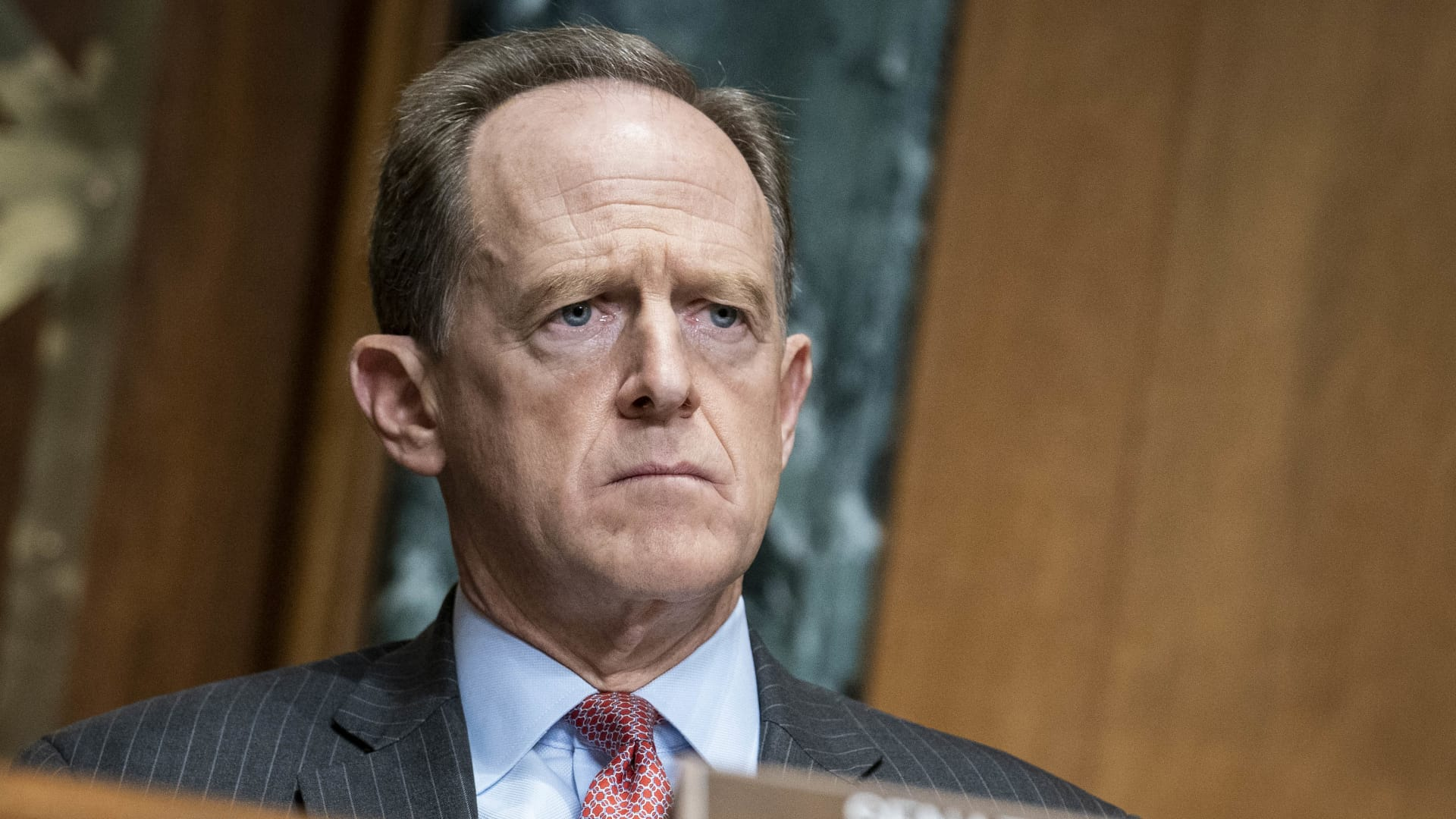 Senator Pat Toomey (R-PA) questions Treasury Secretary Steven Mnuchin during a hearing of the Congressional Oversight Commission on December 10, 2020 on Capitol Hill in Washington, DC.