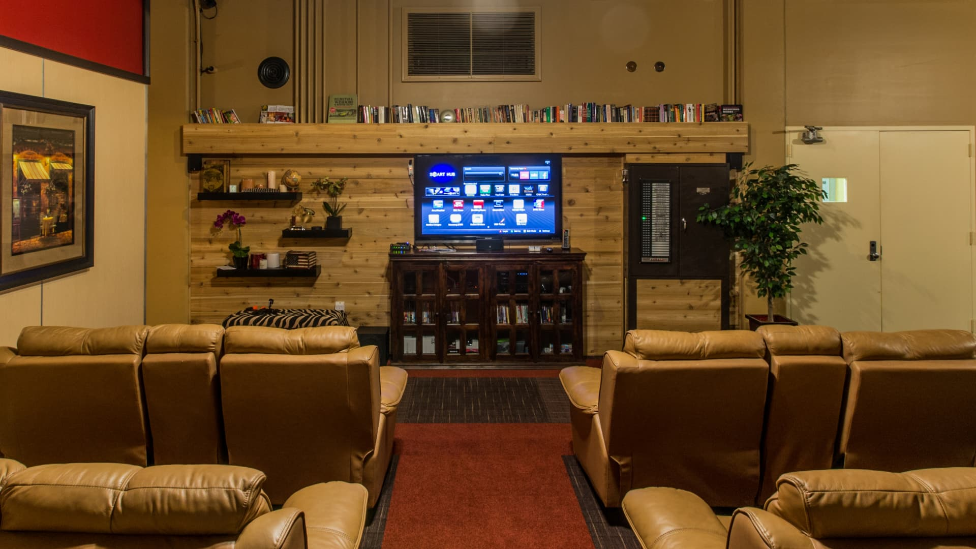 A home theater area in a Vivos underground bunker.