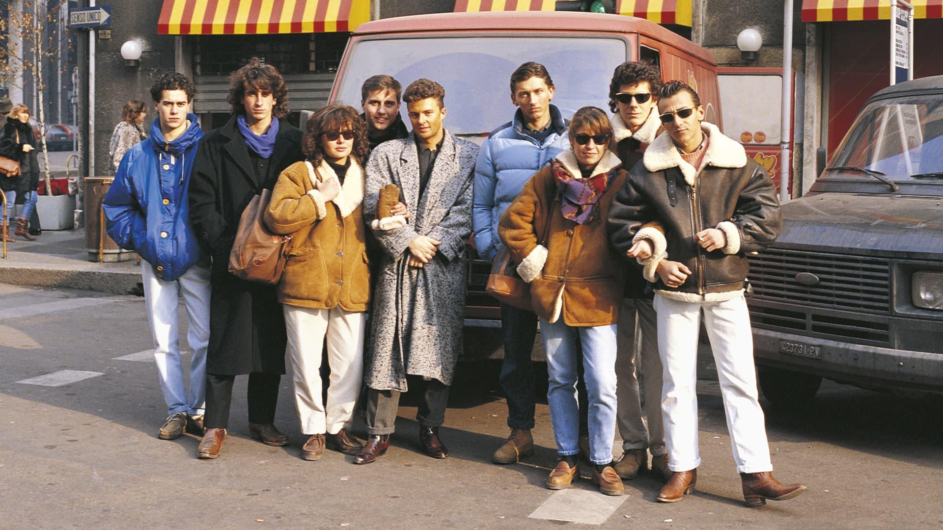 Teens in Milan wearing Timberland boots