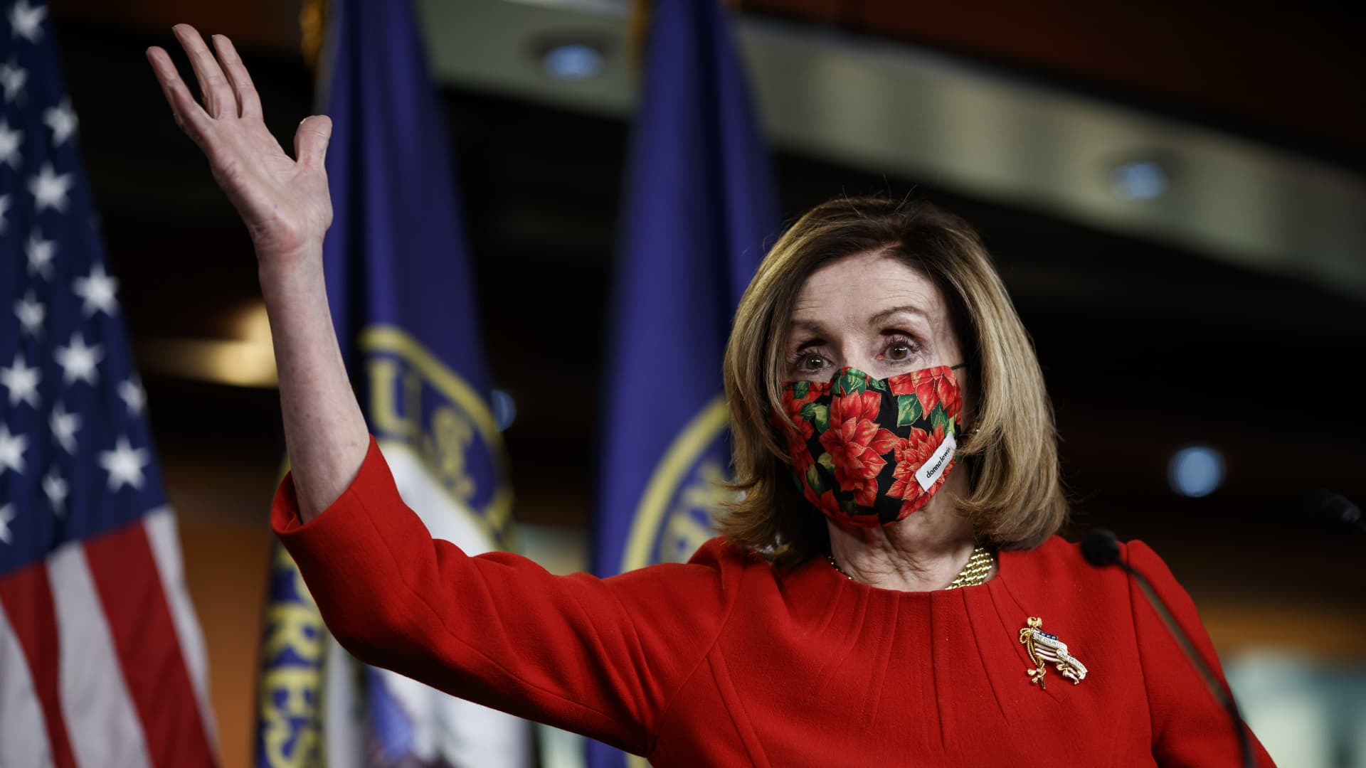 U.S. House Speaker Nancy Pelosi, a Democrat from California, wears a protective mask while speaking during a news conference at the U.S. Capitol Building in Washington, D.C., U.S., on Sunday, Dec. 20, 2020.