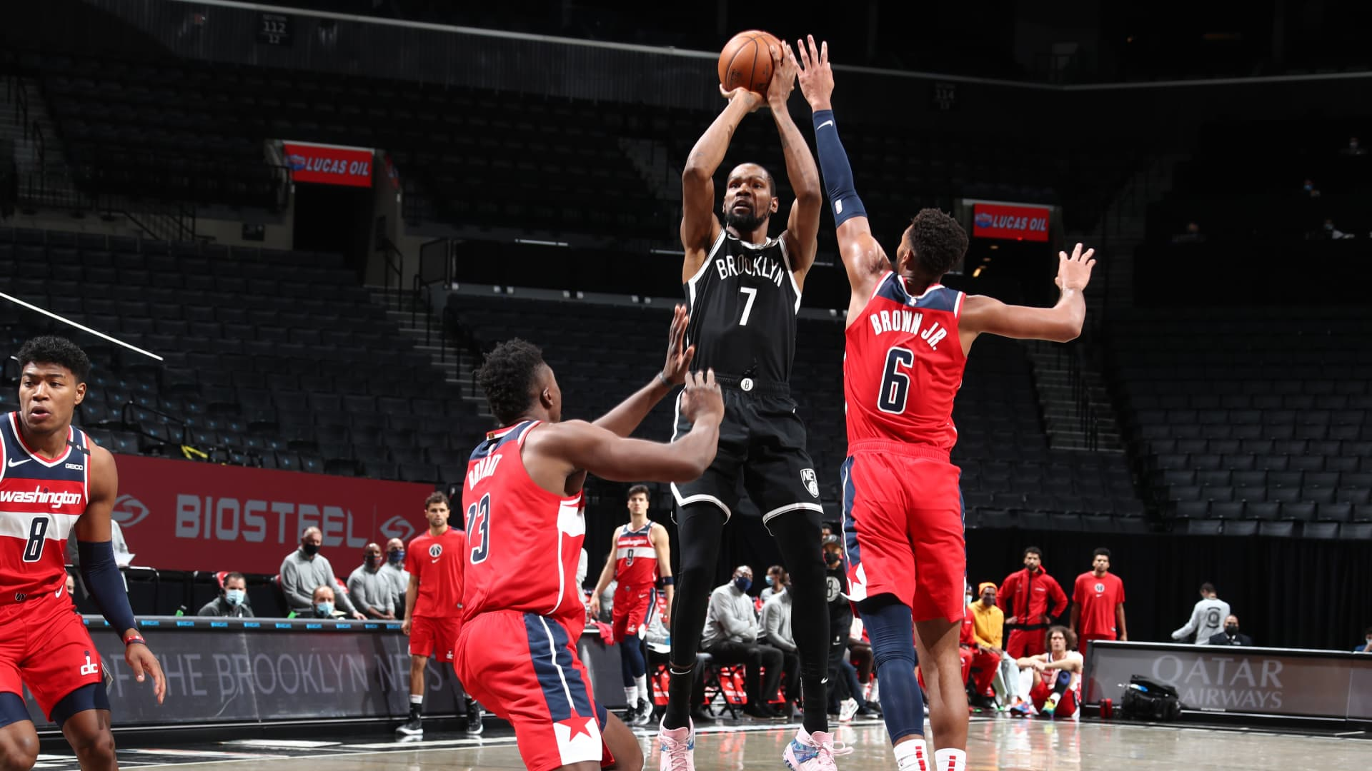 Kevin Durant #7 of the Brooklyn Nets shoots the ball against the Washington Wizards during a preseason game on December 13, 2020 at Barclays Center in Brooklyn, New York.
