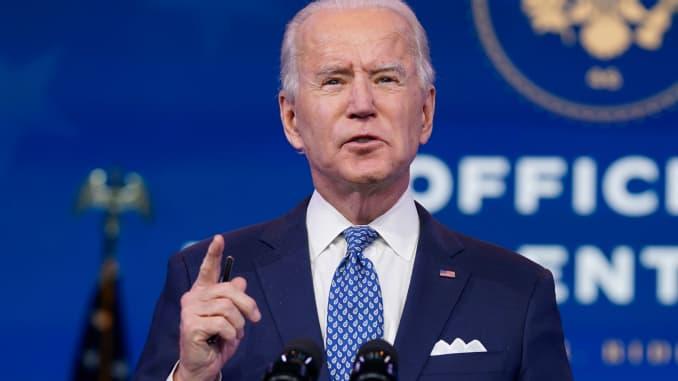 Presiden Terpilih AS Joe Biden menyampaikan sambutan sebelum liburan di The Queen di Wilmington, Delaware pada 22 Desember 2020.
