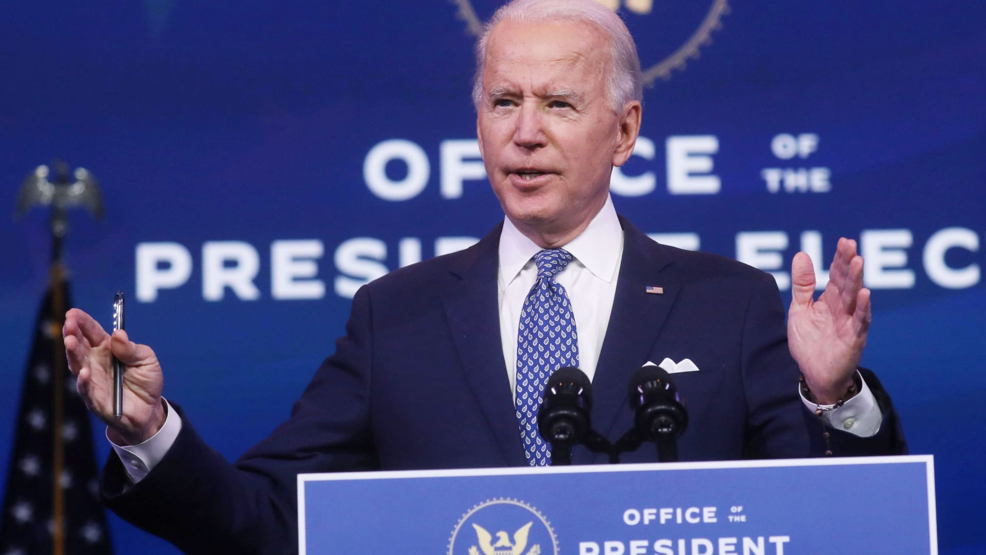 President-elect Joe Biden speaks about the recent massive cyber attack against the U.S. and also other Biden administration goals in Wilmington, Delaware, December 22, 2020.