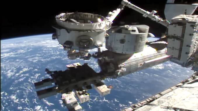 The Nanoracks-built Bishop airlock is installed via the robotic Canadarm2 on the International Space Station.