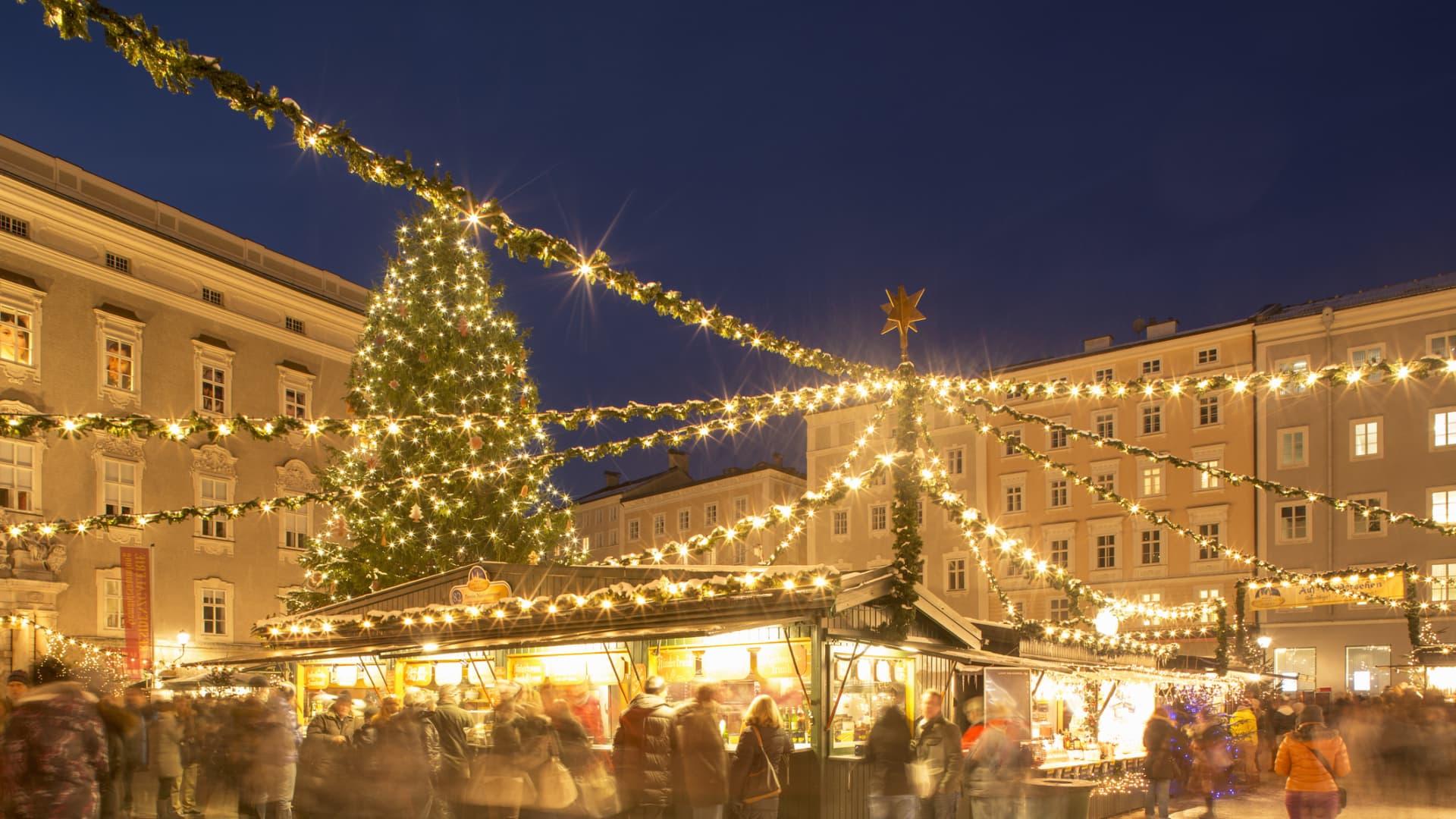 A Christmas market in Salzburg, Austria.