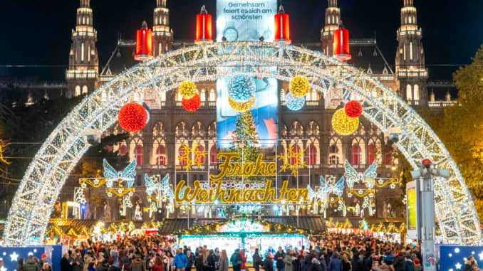 Visitors at a Christmas market in front of Vienna's City Hall on Nov. 19, 2019.
