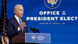 President-elect Joe Biden speaks prior to the holiday at the Queen theatre on Dec. 22, 2020 in Wilmington, Delaware.