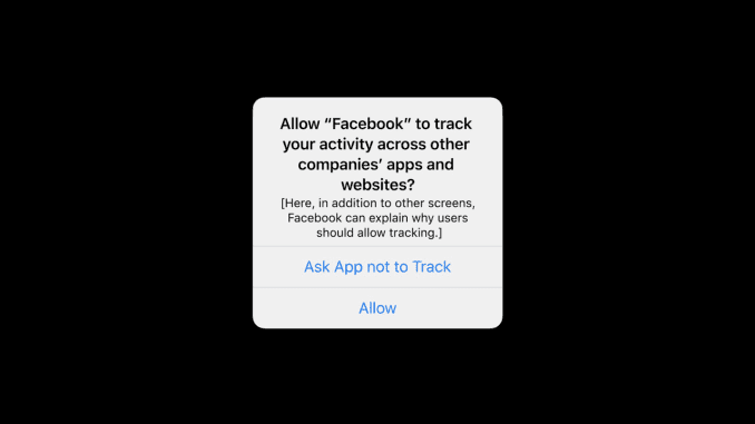 A mockup of the popup window iPhone users will see before using an app that tracks their data. This image was provided by Apple.