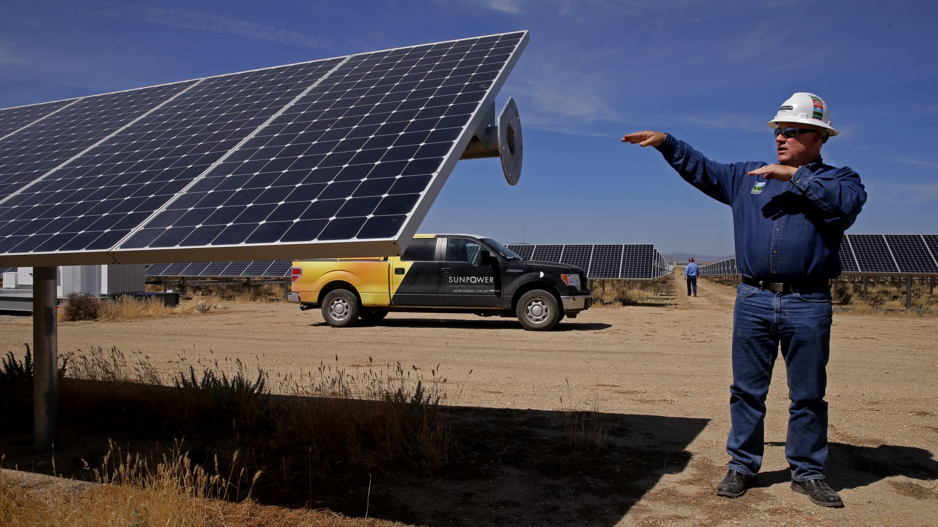 A SunPower executive on site at the California Valley Solar Farm near Santa Margarita, Calif., in San Luis Obispo County.