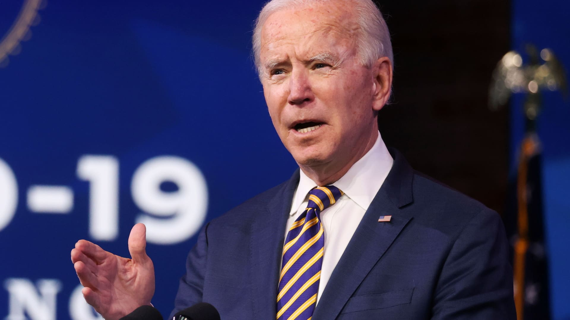 U.S. President-elect Joe Biden delivers remarks on the U.S. response to the coronavirus disease (COVID-19) outbreak, at his transition headquarters in Wilmington, Delaware, December 29, 2020.