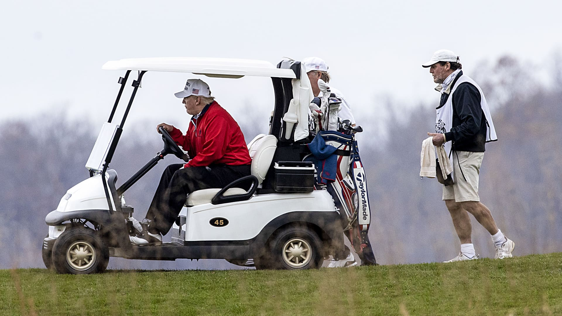President Donald Trump golfs at Trump National Golf Club on November 21, 2020 in Sterling, Virginia.