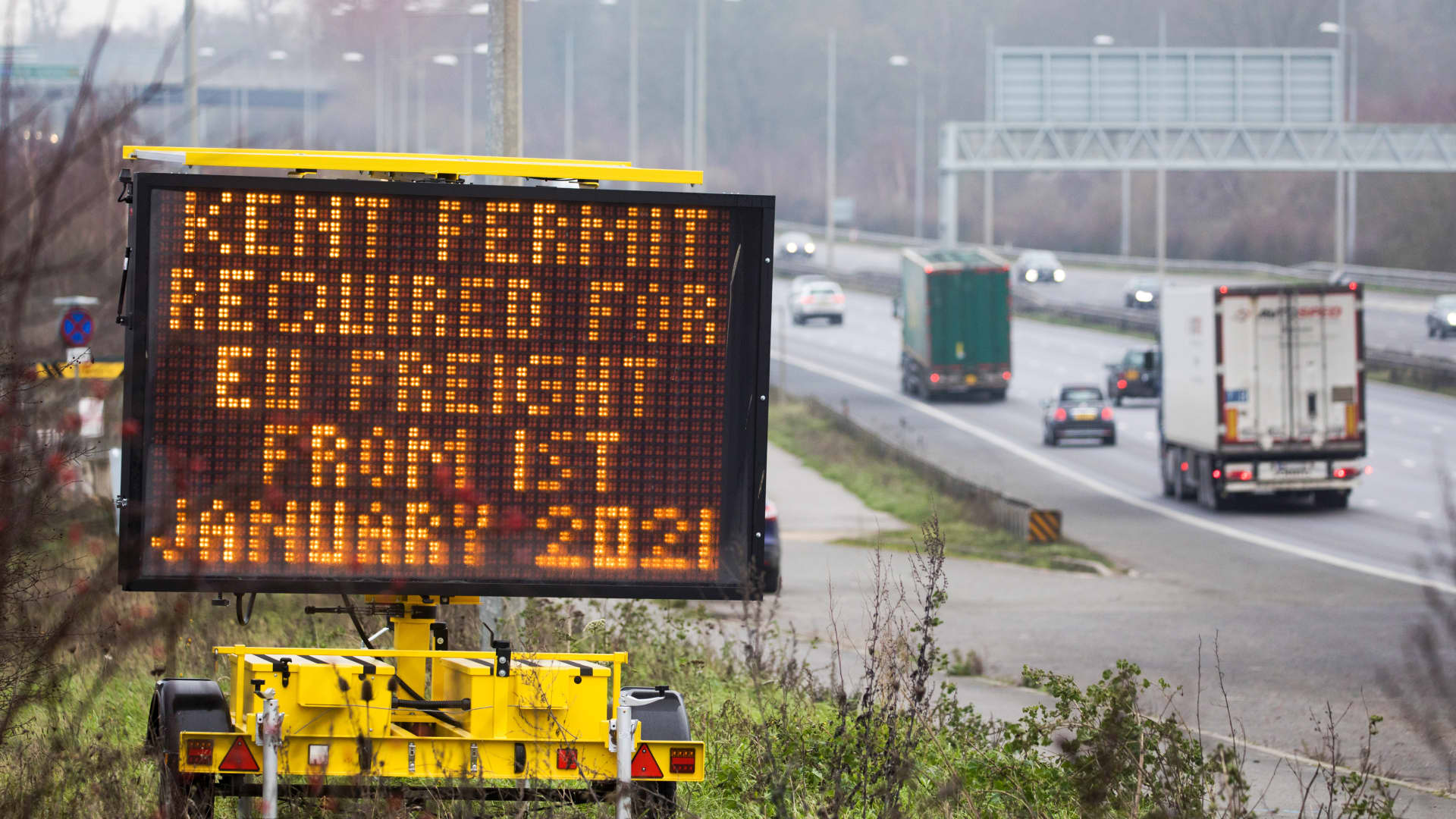 A sign for truck drivers and hauliers on the M2 motorway near Gravesend, U.K., on Thursday, Dec. 31, 2020.
