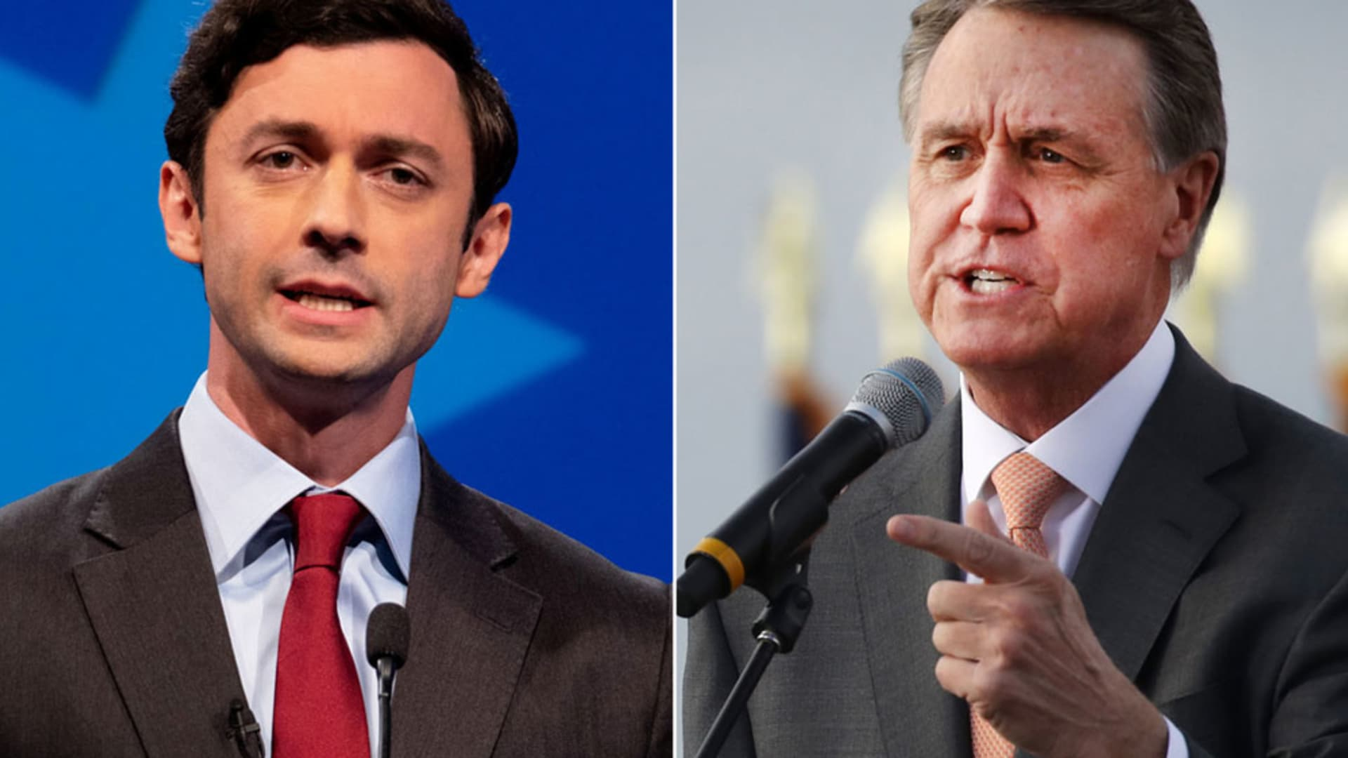 Jon Ossoff and David Perdue, candidates for Senate from Georgia.