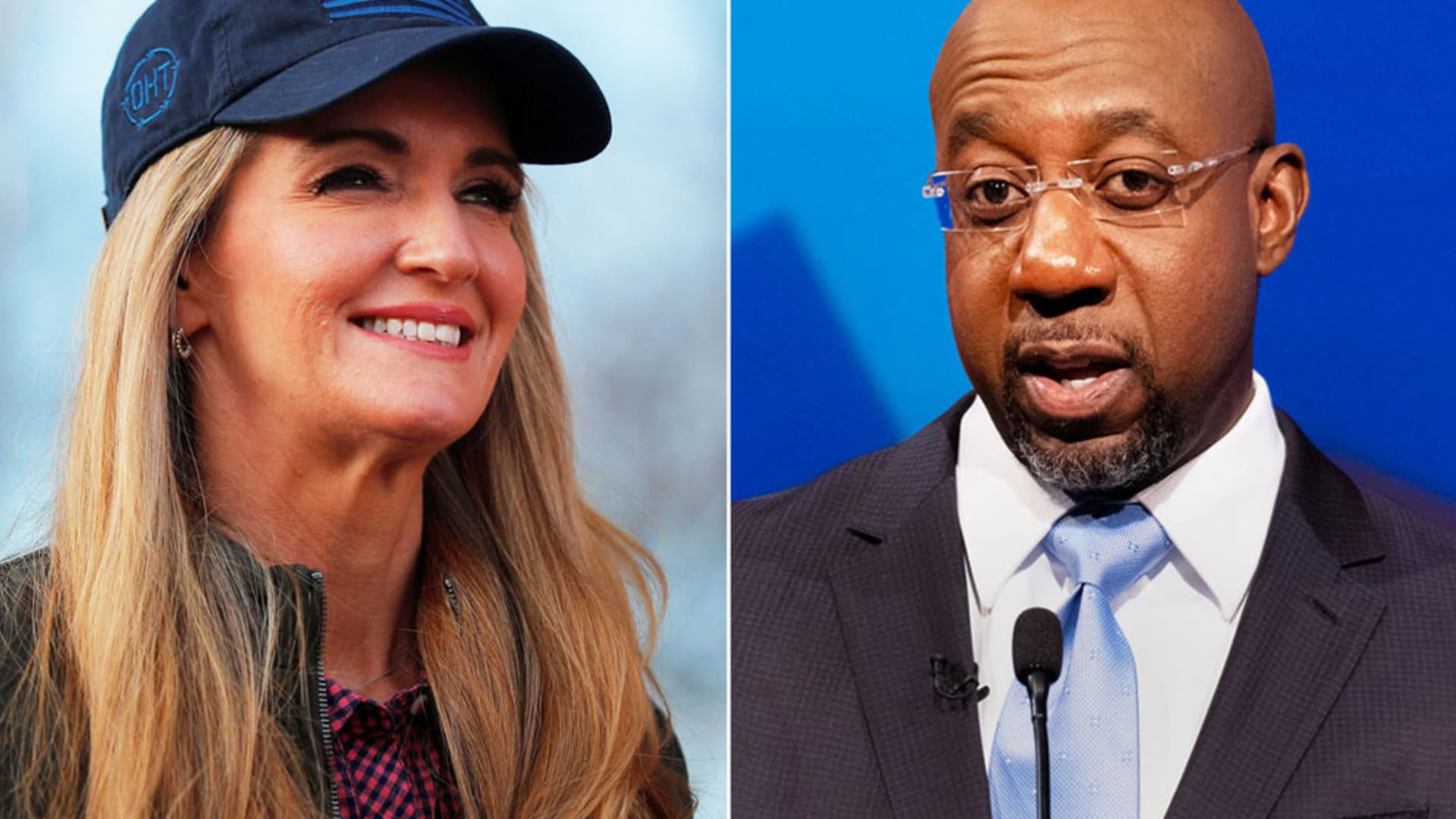 Kelly Loeffler and Raphael Warnock campaigning for Senate seat in Georgia