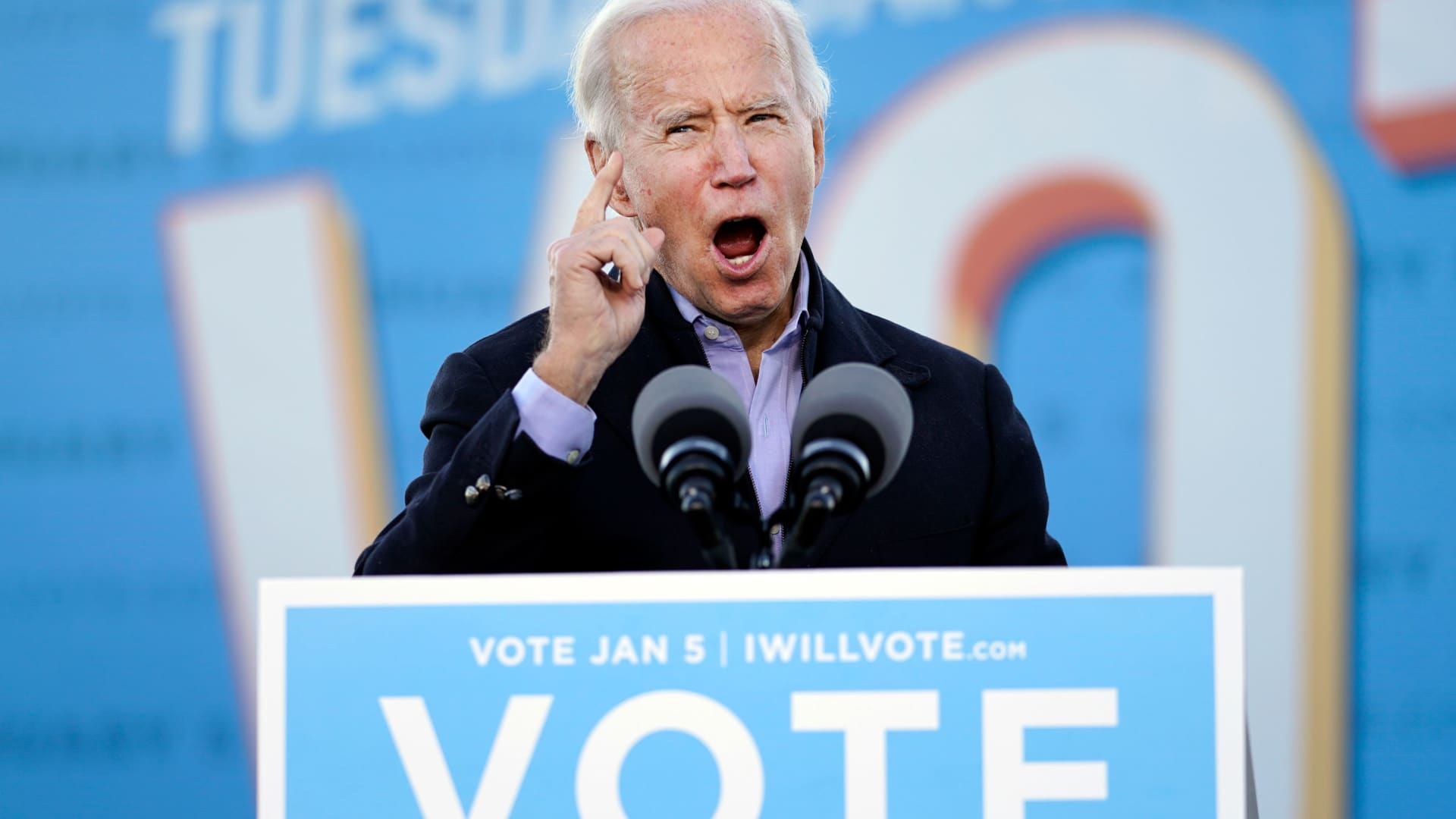 President-elect Joe Biden speaks in Atlanta, Monday, Jan. 4, 2021, as he campaigns for Georgia Democratic candidates for U.S. Senate, Raphael Warnock and Jon Ossoff.