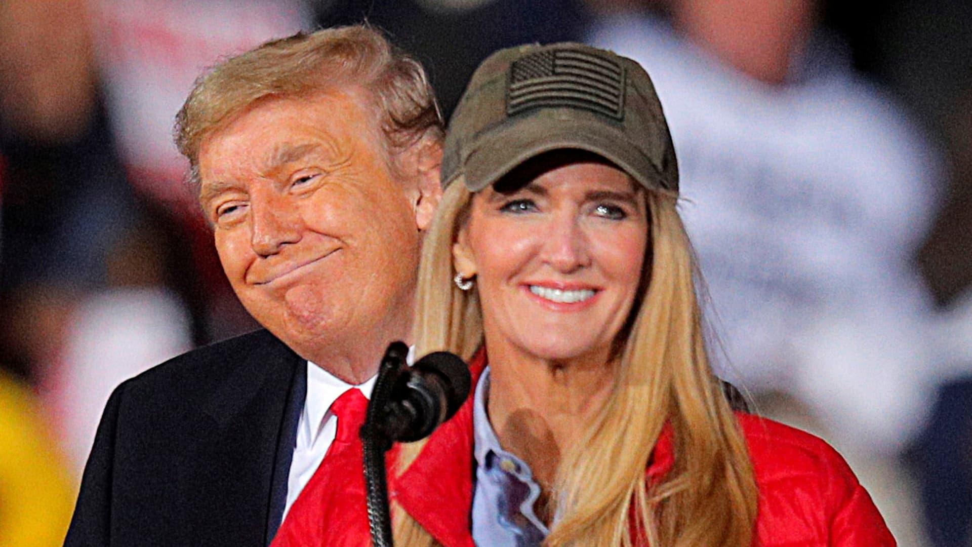 U.S. President Donald Trump campaigns with Republican Senator Kelly Loeffler on the eve of the run-off election to decide both of Georgia's Senate seats, in Dalton, Georgia, U.S., January 4, 2021.