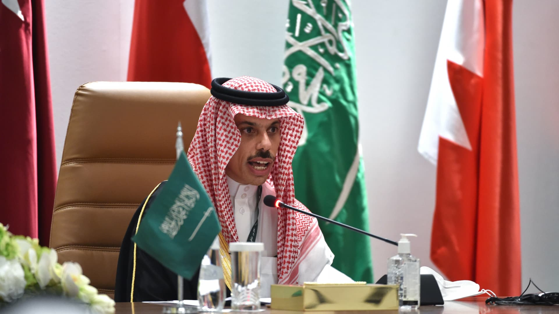 Saudi Foreign Minister Faisal bin Farhan al-Saud holds a press conferece at the end of the 41st Gulf Cooperation Council (GCC) summit, in the city of al-Ula in northwestern Saudi Arabia on January 5, 2021.